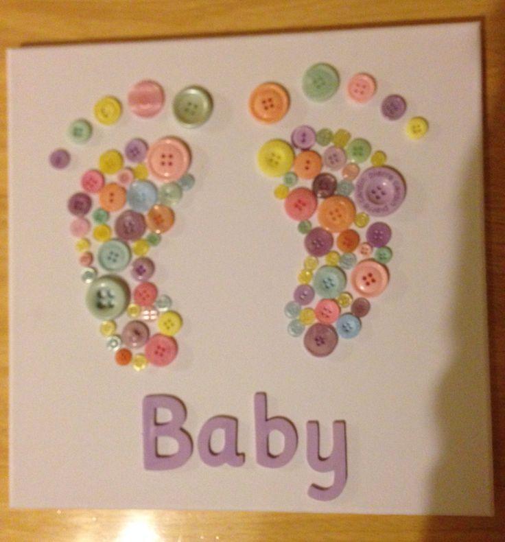 Baby feet button art - so cute