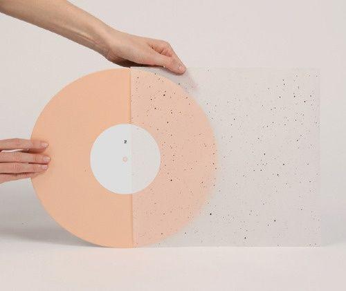 vinyl, peach, blush, translucent vellum, paint splatter pattern, packaging