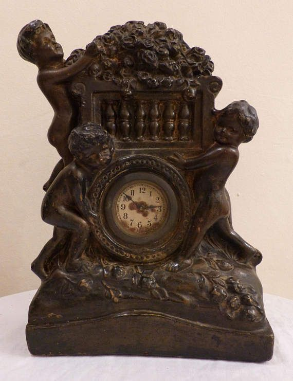 Unusual Antique C19th French Plaster Figural Mantle Clock with