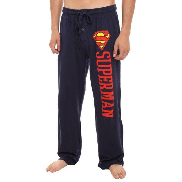 DC Comics Superman Logo Men's Pajama Pants | Hot Topic ($20) ❤ liked on Polyvore featuring men's fashion, men's clothing, men's sleepwear, pajamas, pants, bottoms, pijama and pyjama