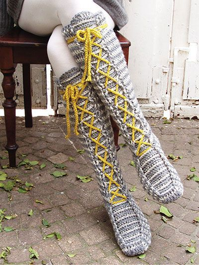 Laced Knee-High Socks Crochet Pattern – #Crochet #…