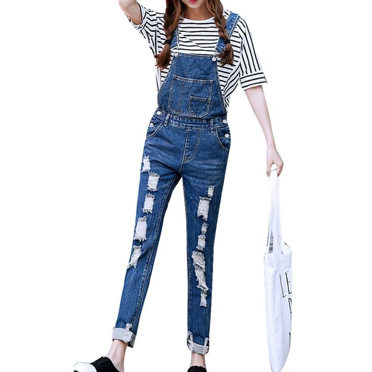 2017 Womens Jumpsuit Denim Overalls Ripped Casual Loose Skinny Jeans Pants Hole Salopette Jeans Women Overalls  Plus size S-5XL //Price: $39.42 & FREE Shipping //     #hashtag1