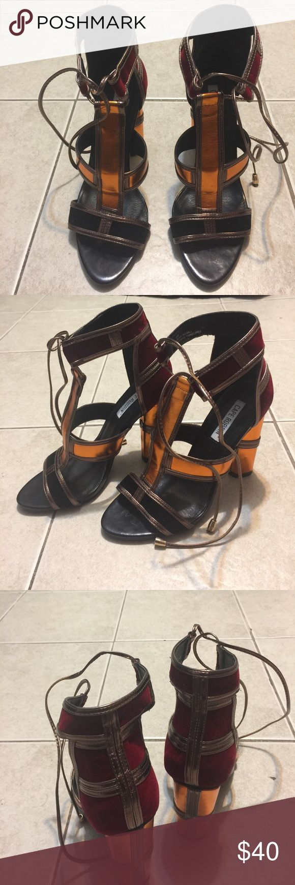 Metallic strappy Heels ✨❤️ Never worn !✨✨ NO OFFERS ! •selling bcuz I give up trying to walk in heels lol • *No Box Included with shipping* Shoes Heels