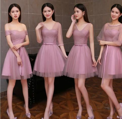 The+Dusty+Pink+short+tulle+bridesmaid+dresses+are+fully+lined,+8+bones+in+the+bodice,+chest+pad+in+the+bust,+lace+up+back+or+zipper+back+are+all+available,+total+126+colors+are+available. This+dress+could+be+custom+made,+there+are+no+extra+cost+to+do+custom+size+and+color. Description+of+Dust...