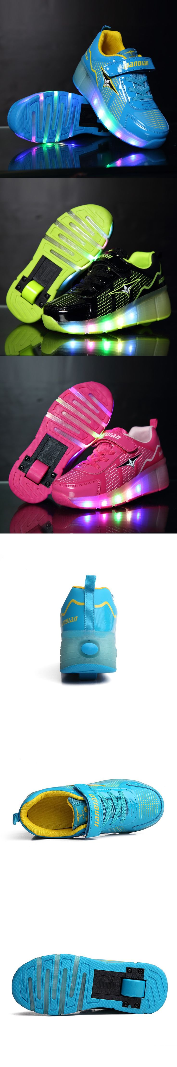 Children wheely Rolle Led Lights Kids Shoes With Wheels Wear-resistant for girls boys Sneakers Zapatillas Con Ruedas TQ6001 $44.05
