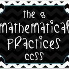 These posters contain the 8 Mathematical Practices for the Common Core State Standards. The background is a black and white chevron design.  There ...