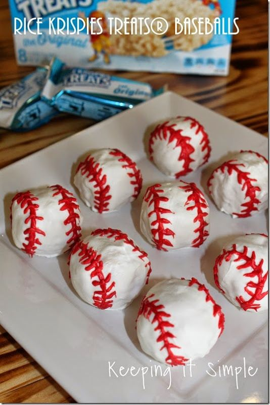 Rice Krispies Treats® Baseballs.  Perfect treat for a baseball game or party.  #Getkreative @keepingitsimple
