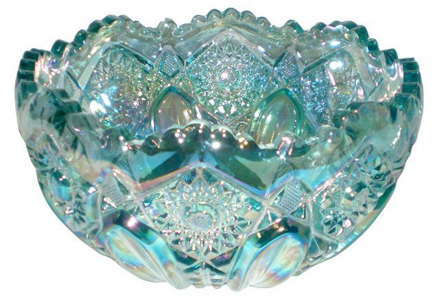 *LE SMITH ~ aqua carnival glass bowl with iridescent finish in the Quintec pattern. Manufacturer's anomalies: Some bubbles and straw marks typical of pressed glass mold production. Marked: with a S in a circle.