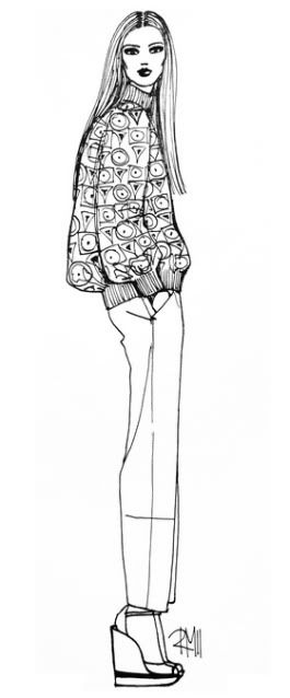 2011,RM,rimmamaslak,sketch,drawing,illustration,fashion sketch,fashion illustration,slouchy sweater