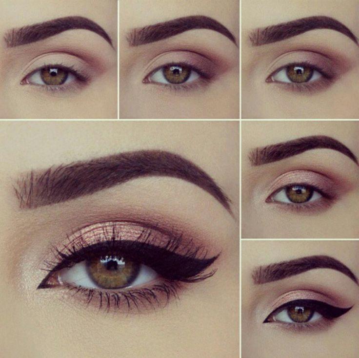 Makeup & Hair Ideas: Resalta tus ojos este maquillaje con sombras rosas y delineado cat eye. Es muy s…