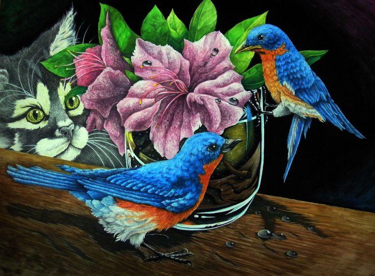 2010 #draw #drawing #art #illustration #picture #flower #bird #cat