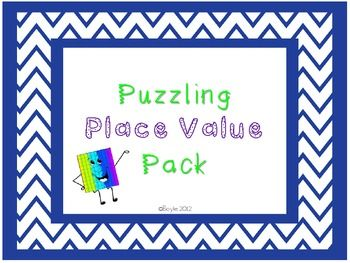"This 20 page packet includes everything you need to stock a variety of differentiated math work stations about place value! What's included in Place Value Packet!-Work on Writing with Place Value ""Hey Diddle Riddle"" activity sheet and example page -SIX differentiated ""Place Value Puzzles"" -""Place Value Foldable"" Instructions Page-""Place Value Foldable"" Printable Pages-TWO differentiated ""Place Value Pile-Up"" activity pages-""Place Value Pile-Up"" number cards**Perfect packet to challenge…"