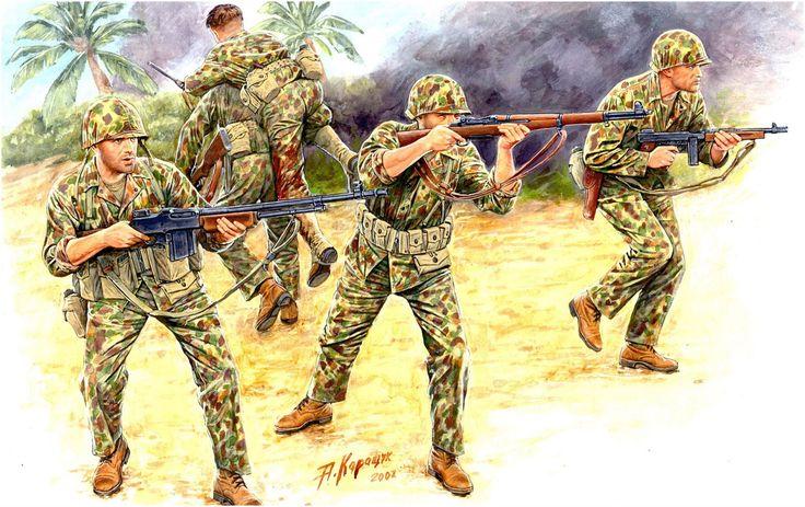 Marines del USMC, Tarawa, Noviembre de 1943. Andrei Karachtchou. Más en www.elgrancapitan.org/foro