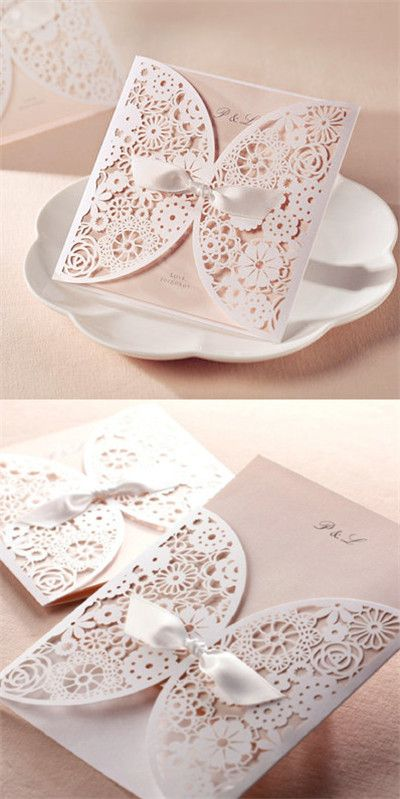 "Elegant Laser Cut Lace Wedding Invitations //Use coupon code ""CVB"" to get 10% off towards all the invitations. #elegantweddinginvites"