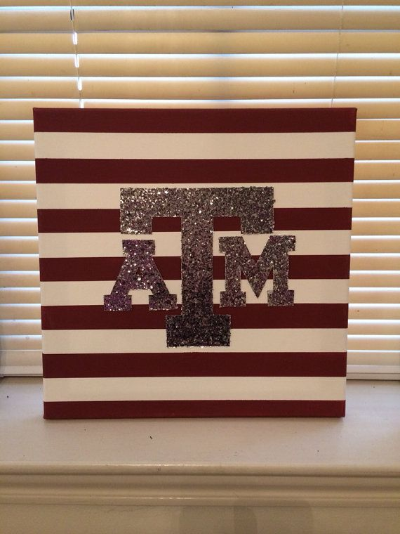 Texas AM Aggie Canvas Glitter Wall Art - Perfect for your home! Whoop! on Etsy, $35.00