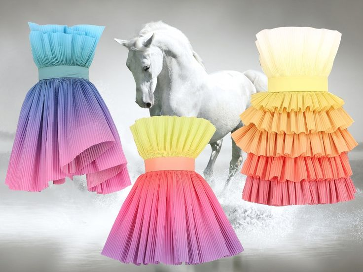 #fantasy #dress by #capucci  #fashion #horse #dream #collage #colors #rainbow #party #partydress #love