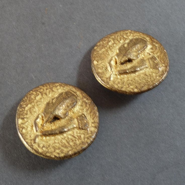 """Two French Couture Gilt Bronze Buttons Hand with Quill Pen Writing Instrument 13/16"""""""