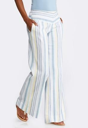 cb7cf0cb9df Cato Fashion-Wide Leg Striped Linen Pants.
