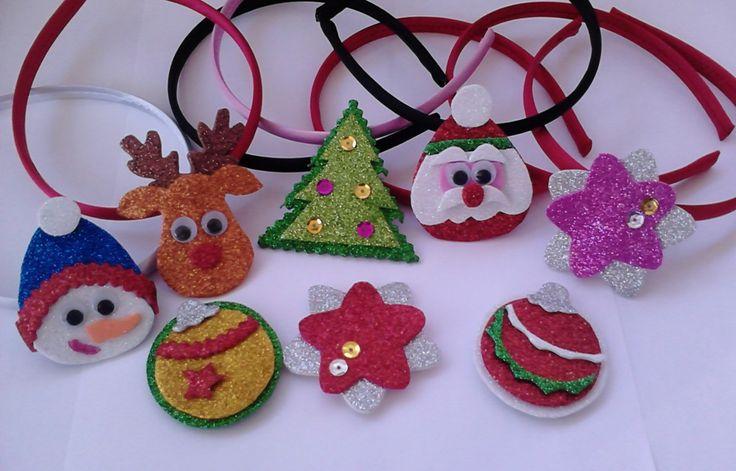 Diademas Navidad con divertidas formas, colores.