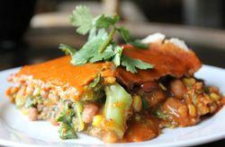 Engine 2 Enchiladas Vegan and Oil-free (mushrooms, spinach, hash browns, green chilies, and whole grain corn tortilla). GF/SF/NF/YF/OF/bean & legume-free/oat-free/vinegar-free/sugar-free