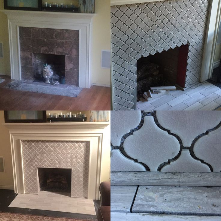 LR fireplace before and after.  Top=before.  After with new moroccan tile and dark stained hardwood floors. Pierce family Remodel 2015