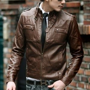 men's china collar leather jackets [brown]-05: China Collars, Leather Jackets Style, Collars Leather, Leather Jackets Brown, Men Style, Men Fashion, Men Outfits, Men China, Brown Leather Jackets Men