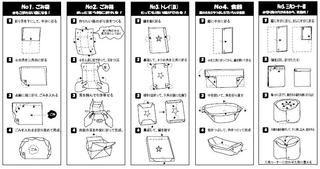 紙袋や紙箱、紙皿、食器、三角コーナーの袋の作り方を4コマにしました。 - 「カトー折り」ペーバークラフトで広げるエコ!