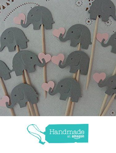 Grey Elephants holding Light Pink Hearts Cupcake Toppers - Elephant and Hearts Food Picks - Gray and Pink Elephant Party - Baby Girl Shower Appetizer Picks (Set of 24) from Sew Pretty in Vermont https://www.amazon.com/dp/B01IKXS9O2/ref=hnd_sw_r_pi_dp_EmcKxbAT5C5RP #handmadeatamazon