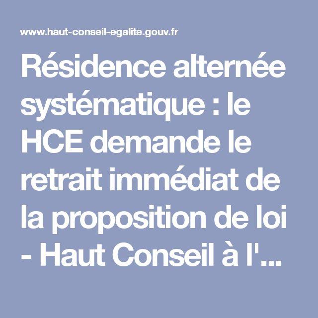 Résidence alternée systématique : le HCE demande le retrait immédiat de la proposition de loi - Haut Conseil à l'Egalité entre les femmes et les hommes