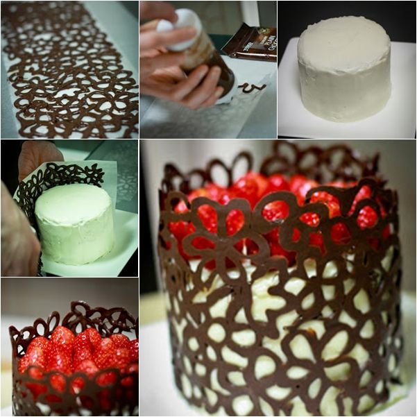 It's not hard to make chocolate lace but the end result is very professional.  Check tutorial--> http://wonderfuldiy.com/wonderful-diy-chocolate-lace-cake/