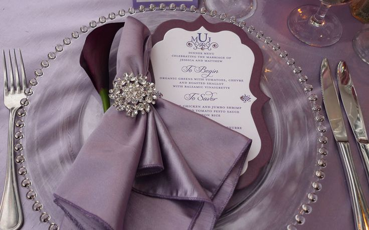 amethyst or grey.candlewick charger. rhinestone napkin ring.