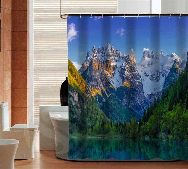 Home Decoration Mountain custom Shower Curtain bathroom Eco-Friendly waterproof various sizes SQ0512-ZHH-01
