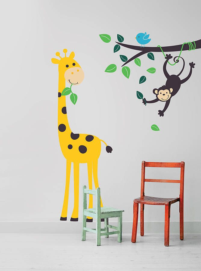 Monkey branch and giraffe wall stickers baby bedroomchilds