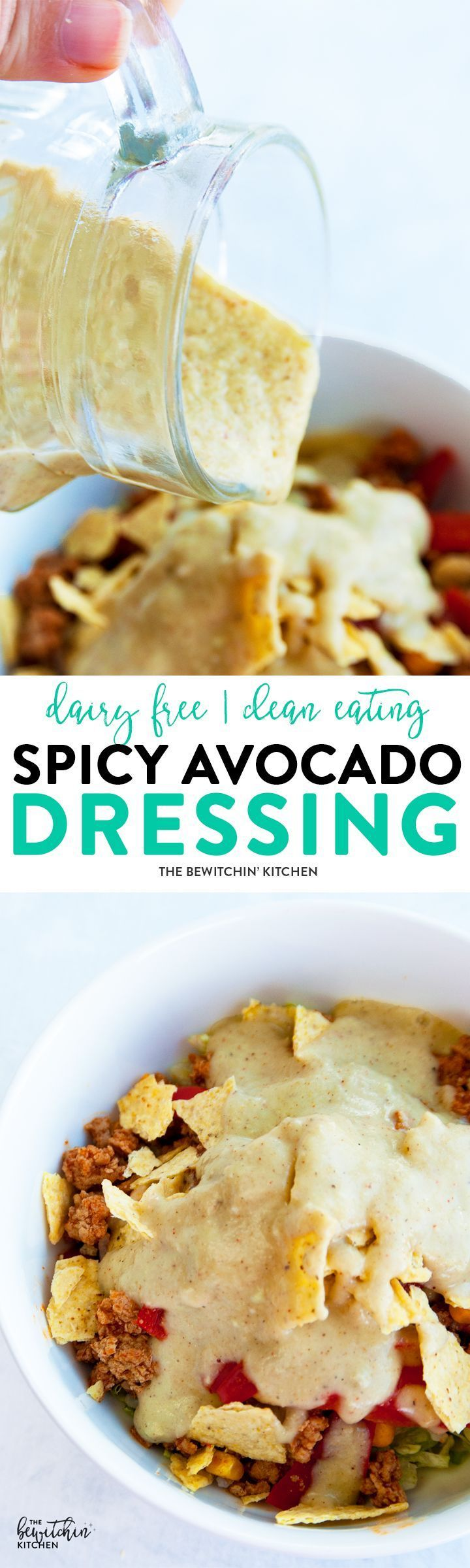 Spicy Avocado Dressing easy homemade salad dressing recipe that's creamy, yet dairy free. It makes a great fry dip too! Whole30, Paleo and 21 Day Fix approved! via @RandaDerkson