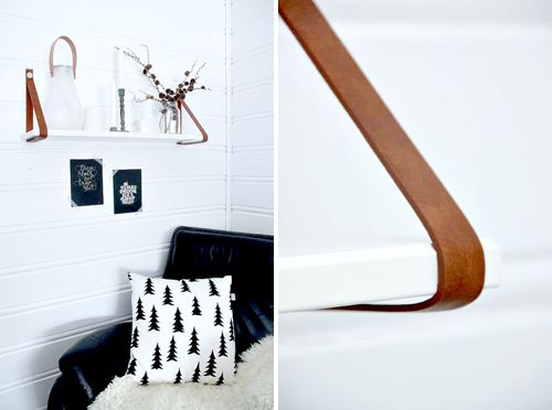 DIY shelf with leather straps by Har en drøm. I love the use of mixed materials, particularly, anything with leather.