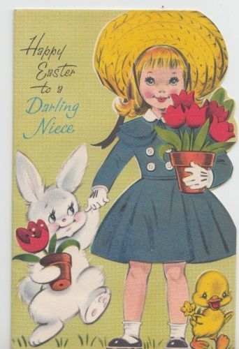 Sweet-Girl-In-Easter-Bonnet-With-Bunny-amp-Chick-Vintage-Easter-Greeting-Card