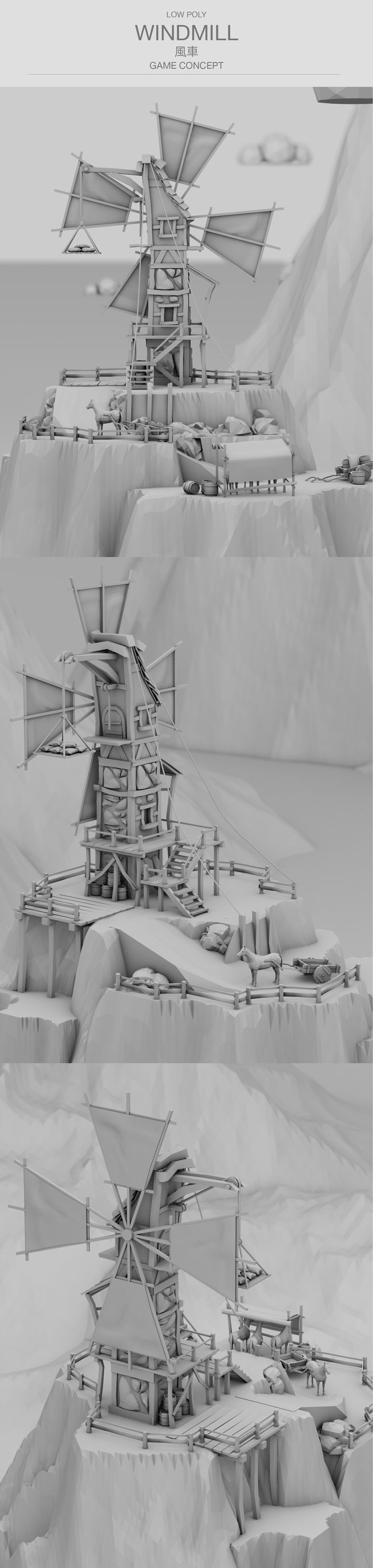Low poly / Medieval Windmill / Game environment on Behance