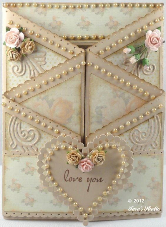 pretty! shabby chic 3D valentine anniversary or love you card