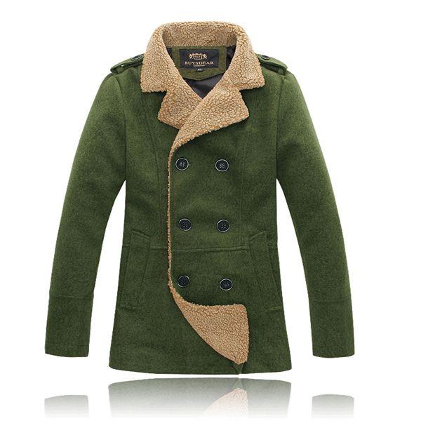 Doble para hombre abrigos de lana con capucha de invierno la nieve de pecho