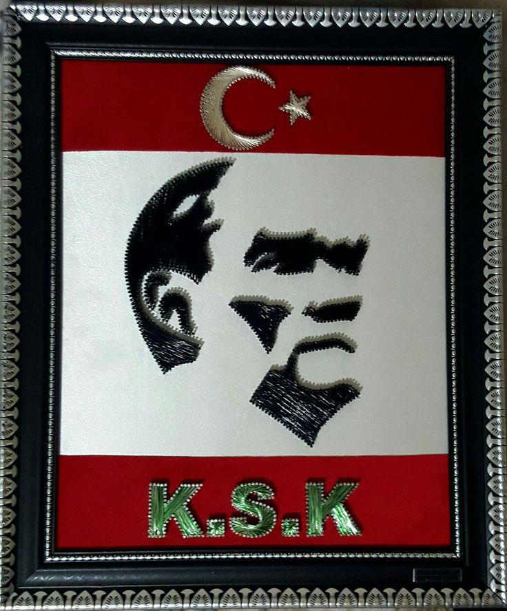 Ayas filografi farkıyla Ulu Önder Mustafa Kemal Atatürk silueti