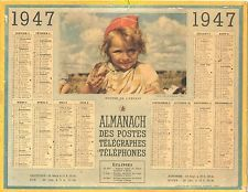 CALENDRIER ALMANACH des  PTT - 1947 GOUTER DE L'ENFANT