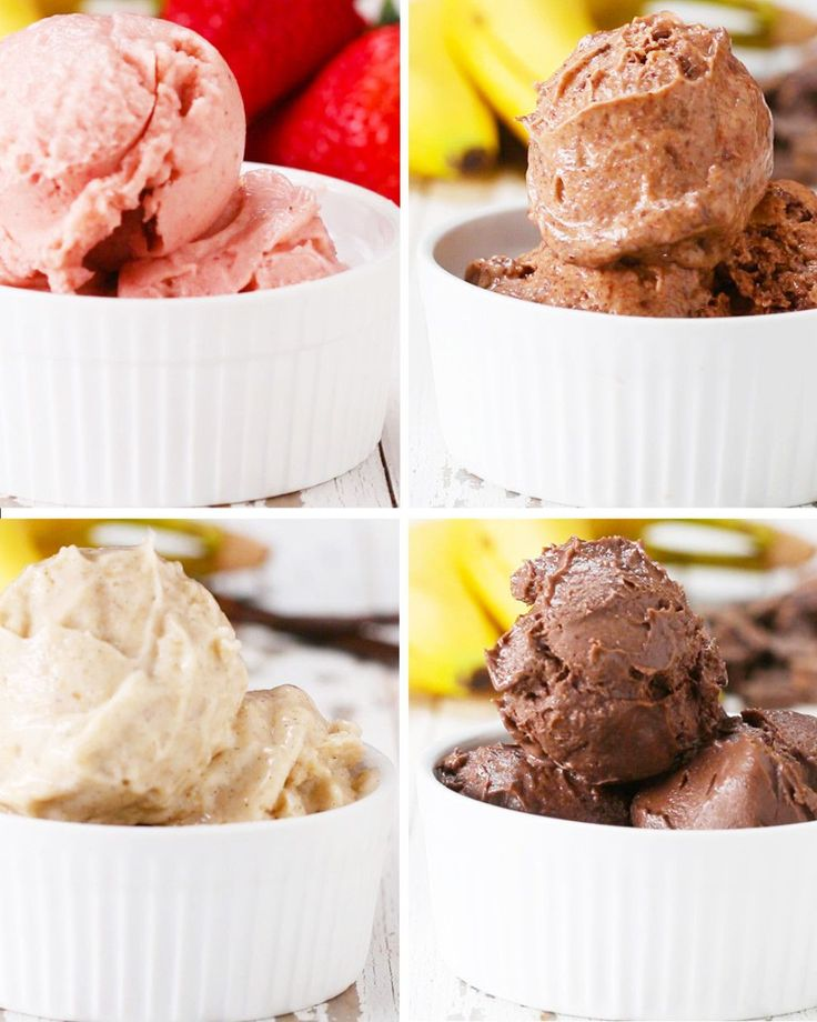 """Nice"" cream time! Guilt free treats - Banana Strawberry Peanut Butter and Chocolate Vanilla"
