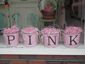 """Tickled Pink, Seymour CT The whole display says """"tickled pink"""" and was in a front window.  This whole blog is filled with examples of creative display."""