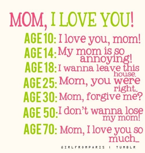 So True As My Mom Just Turned 82 And I Tell Her Everyday That I Love