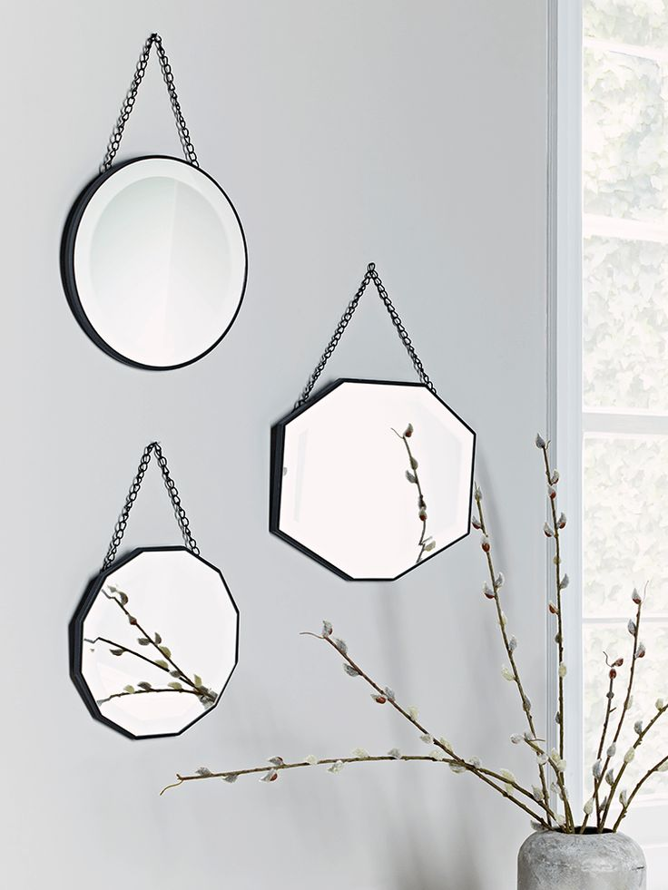 With three different shapes, our collection of three bevelled mirrors will add a touch of eclectic style to your wall. Display all together to make a statement, or hang in different rooms to carry a vintage theme throughout your home.