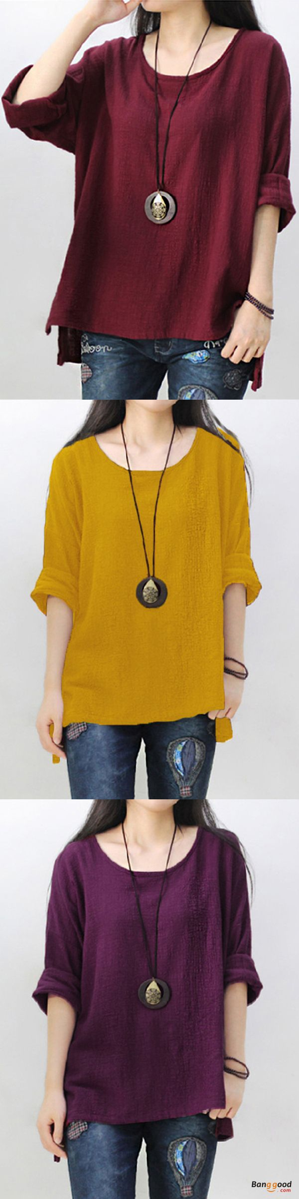 US$17.99+Free shipping. Size: S~5XL. Color: Black, Burgundy, Purple, Yellow. Material: Cotton. Fall in love with casual and vintage style! Women's Fashion, Blouses For Women, Blouse Outfits, Off Shoulder Top.