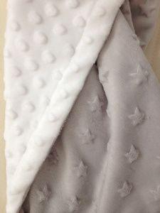 Couverture bébé gris clair étoilée - minky - Miiflore couture