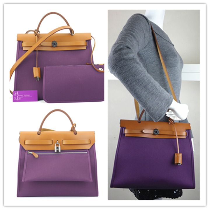 HERMES Herbag Zip cassis purple canvas with leather very good ... Hermes  Etoupe Ebene ... f588e32263c86