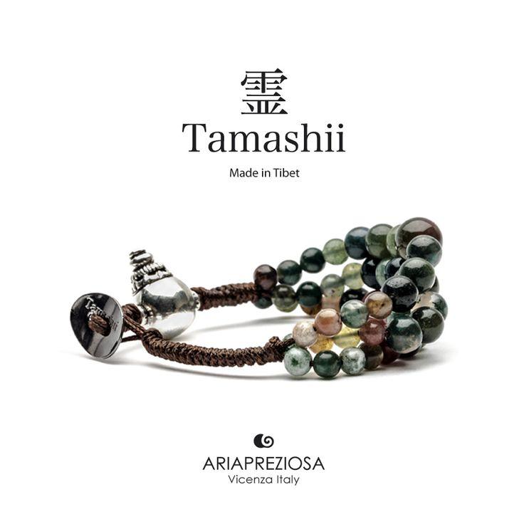 Bracciale Tamashii Dul Ba originale realizzato con pietre naturali AGATA MUSCHIATA.  Composto da 3 file di pietre, simboleggia la disciplina, che nel buddismo assume l'accezione di equilibrio.