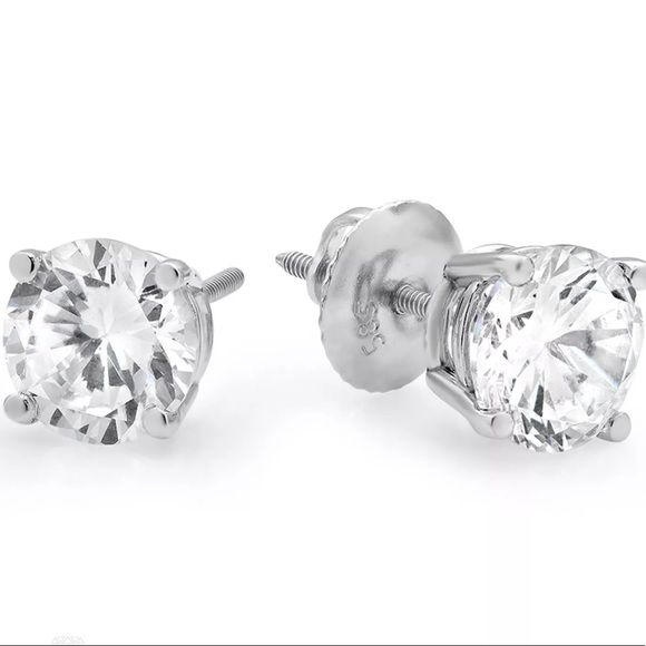 SCREW BACK STUD EARRINGS SIMULATED CERT DIAMOND 2.5 CT ROUND CUT 14K YELLOW GOLD